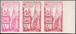 FRANCE   ** 979 979 Bande De 3 Essais En Lilas, Carmin Et Bicolore, Bdf: Quimper, Cathédrale - Ensayos