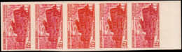 FRANCE   ** 1024 1024 Bande De 5 Essais En Carmin, Orange, Bicolore, Bdf: Locmotive Alsthom - Ensayos