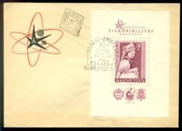Hongarije 1958 FDC Wereldtentoonstelling Brussel Mi Blok 27A - FDC