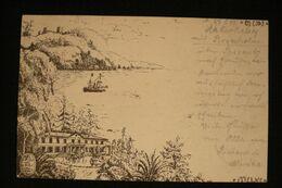 Superbe Dessin Encre De Chine Aakirkeby Sur Entier Danemark 1899 - Postal Stationery