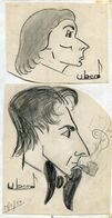 Christian CRUVEILLER   Dit UBER  / 2 Beaux Dessins  Crayon   1950 - Dessins