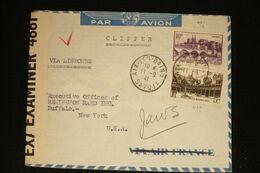 France Lettre Vers Usa Via Lisbonne Censure 4661 Aix Les Bains 11/9/41 - Postmark Collection (Covers)