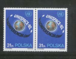 POLAND 1982 2ND UNITED NATIONS UNISPACE CONFERENCE UN ONZ UNO NHM PAIR Space Earth Globe Cosmos - Ongebruikt