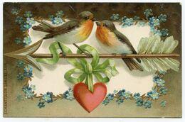 Couple D'oiseaux.carte Gaufrée.inscription Bordure Gauche Recto échantillon Sans Valeur - Uccelli