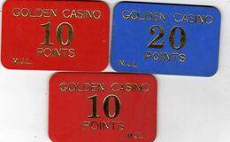 Jeu - Plaques Ou Jetons De Casino  Golden Casino 20 Points M.J.L. Et 2 X 10 Points M.J.L. En Plastique - Casinokarten