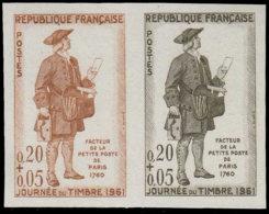 FRANCE   ** 1285 1285 Paire D'essais En Brun Et Noir: Journée Du Timbre 1961, Facteur - Ensayos