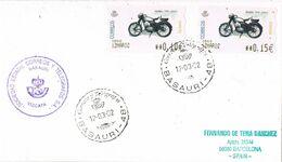 37568. Carta BASAURI (Vizcaya) 2002. ATM, Syv Moto Norton. Marca Violeta De Correos Y Telegrafos - 1931-Aujourd'hui: II. République - ....Juan Carlos I