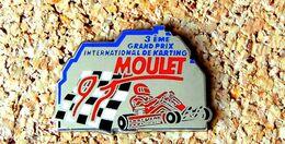 Pin's KART 3° GP International De KARTING 1991 MOULET - Métal Chromé émaillé - Fabricant MIF - Rallye