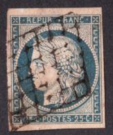 Cérès N° 4 Bleu Sur Jaune - Oblitération Grille - 1849-1850 Ceres