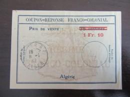 Algérie - Coupon-Réponse Franco-Colonial 1f10 Sur 75 Centimes - Oblitéré à Alger Le 8 Janvier 1942 - Algeria (1924-1962)
