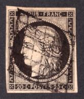 Cérès N° 3 Noir Sur Jaune - Oblitération Grille - 1849-1850 Cérès