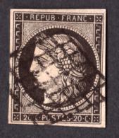 Cérès N° 3 Noir Sur Jaune - Oblitération Grille - TTB - 1849-1850 Cérès