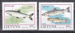 Tr_ Litauen Lietuva 1998 - Mi.Nr. 671 - 672 - Postfrisch MNH - Tiere Animals Fische Fishes - Fische