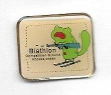 Pin's  JAPONAIS, Sport  Biathlon  Compétition  Ground  NOZAWA  ONSEN  Station De Sports D'hiver Voir Description - Biathlon