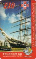 UK - Sailing Boat, Cutty Sark, Telecom UK Prepaid Card 10 Pounds, Used - Bateaux