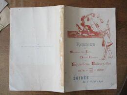 SOIREE DU 6 MAI 1891 REUNION DES MEMBRES DES JURYS ET DES DIVERS COMITES DES EXPOSITIONS UNIVERSELLES 1878 1883 1885 188 - Programme