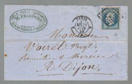 """Oblit. - Losange """"A"""" - Cachet Paris - Napoléon 20c Bleu Non Dentelé - 1849-1876: Periodo Clásico"""