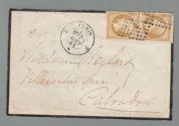 """Oblit. - Losange """"E"""" - Cachet Paris E - Paire Napoléon 10c Bistre Non Dentelé (belle Marge) - 1849-1876: Klassieke Periode"""