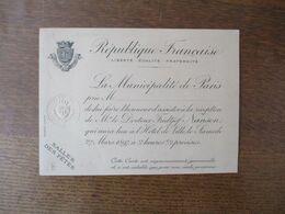 REPUBLIQUE FRANCAISE INVITATION DE LA MAIRIE DE PARIS LE 27 MARS 1897 RECEPTION DE M. LE DOCTEUR FRIDTJOF NANSEN VOYAGE - Historische Dokumente