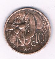 10 CENTESIMI  1927  ITALIE /6969/ - 1861-1946 : Regno