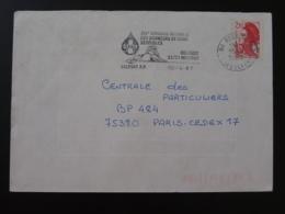 90 Belfort Lion Du Sang Du Sang Blood Giving 1987 - Flamme Sur Lettre Postmark On Cover - Félins
