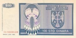 Bosnia 100 Dinara, P-135 (1992) - UNC - Bosnia And Herzegovina