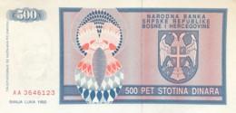 Bosnia 500 Dinara, P-136 (1992) - UNC - Bosnia And Herzegovina