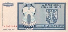 Bosnia 100.000.000 Dinara, P-146 (1993) - UNC - Bosnia And Herzegovina