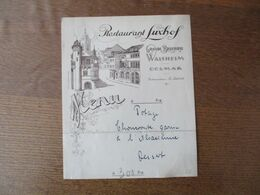 COLMAR RESTAURANT LUXHOF GRANDE BRASSERIE WALSHEIM RESTAURATEUR E.LEIBOLD - Menus