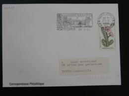 98 Monaco Cactus Jardin Exotique 1992 Slania - Flamme Sur Lettre Postmark On Cover - Cactusses