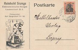 """Deutsches Reich / 1920 / Postkarte EF, Stempel """"Leutersdorf"""", Firmenzudruck """"R.Stange, Elektrotechnische Anlagen"""" (A461) - Germany"""