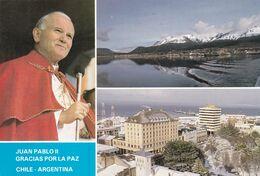 JUAN PABLO II GRACIAS POR LA PAZ CHILE - ARGENTINA.  USHUAHIA - PUNTA ARENAS. CHILI CPSM VOYAGEE 1990 -LILHU - Cile