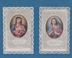 2 Canivets Image Pieuse Bertin  Litho Colorisées De Jésus Et Sa Courronne D'épines Et Marie Sa Mère - Devotieprenten