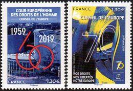 France - Timbre De Service N° 174 Et 175 ** Anniversaires, Conseil De L'Europe Et Fondation Des Droits De L'homme - Nuevos