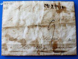 LAC  DE LYON 28/7/1775 Pour FLORAC LOZÈRE CÉVENNES France Marcophilie Lettre 1701-1800:Précurseur XVIII - 1701-1800: Precursors XVIII