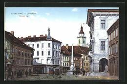 AK Ljubljana / Laibach, Mestni Trg, Strassenbahnen Auf Einem Platz - Slovenië