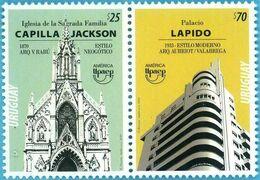 """Uruguay 2020 ** """"Serie América Upaep - Arquitectura """"Iglesia De La Sagrada Familia -Capilla Jackson / Palacio Lapido. - Emisiones Comunes"""