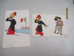 Lot 3 Cpa Illustrateur Golia Italie Conquete Lybie - Illustratori & Fotografie