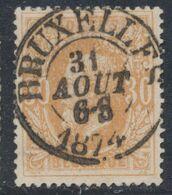 """émission 1869 - N°33 Obl Double Cercle (DCd) """"Bruxelles"""". Superbe / Collection Spécialisée. - 1869-1883 Leopoldo II"""