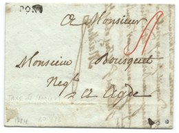 MARQUE POSTALE SAINT PONS POUR AGDE 1784 / TAXE 4 BEZIERS - Marcofilia (sobres)