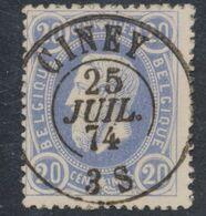 """émission 1869 - N°31 Obl Double Cercle """"Ciney"""" Luxe ! / Collection Spécialisée. - 1869-1883 Leopoldo II"""
