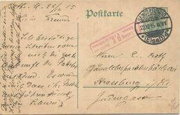 GERMANIA ENTIER POSTAKRTE 5C SANCT LUDWIG 22.12.1915 POUR STRASSBURG + PK ELSASS - Marcofilia (sobres)