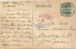 GERMANIA ENTIER POSTKARTE 5C SANCT LUDWIG 8.12.1915 POUR STRASSBURG + PK ELSASS - Marcofilia (sobres)