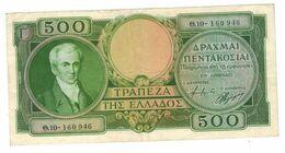 Greece, 500 DRACHMAS DRACHMAI 1945 Greece Banknote P171a. VF/XF. - Grecia