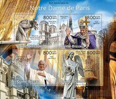 GUINEA BISSAU - 2013 - Notre Dame De Paris, 850th Anniv - Perf 4v Sheet  - M N H - Guinea-Bissau