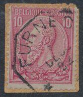 """émission 1884 - N°46 Sur Fragment Obl Télégraphique """"Furnes"""" - 1884-1891 Leopoldo II"""