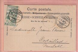 OUDE POSTKAART - ZWITSERLAND - SCHWEIZ -    POSTZEGEL 1900 JUBILE DE L'UNION UNIVERSELLE - MORGES - VD Vaud