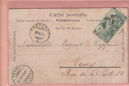 OUDE POSTKAART - ZWITSERLAND - SCHWEIZ -    POSTZEGEL 1900 JUBILE DE L'UNION UNIVERSELLE -   LAUSANNE - VD Vaud