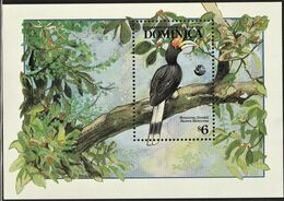 1992 Dominica UN Earth Summit: Rhinoceros Hornbill Souvenir Sheet (** / MNH / UMM) - Oiseaux