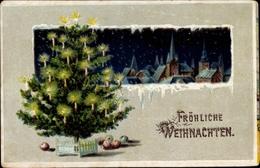 Winter Lithographie Glückwunsch Weihnachten, Tannenbaum, Ortschaft, Äpfel - Noël